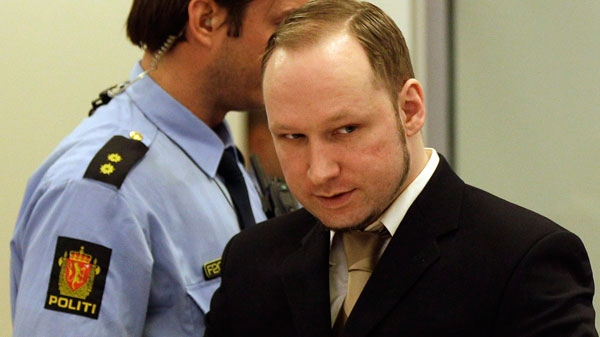 Accused Norwegian Anders Behring Breivik arrives at the courtroom, in Oslo, Norway, Tuesday April 17, 2012. (AP / Frank Augstein)