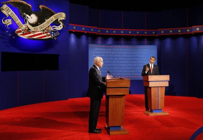 U.S. presidential candidates Barack Obama and John McCain exchange words during the debate at the University of Mississippi in Oxford, Friday, Sept. 26, 2008. (AP / Jim Bourg)