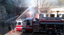 Firefighters were battling the blaze on Albert Street in the Exchange District in Winnipeg on April 19, 2012.