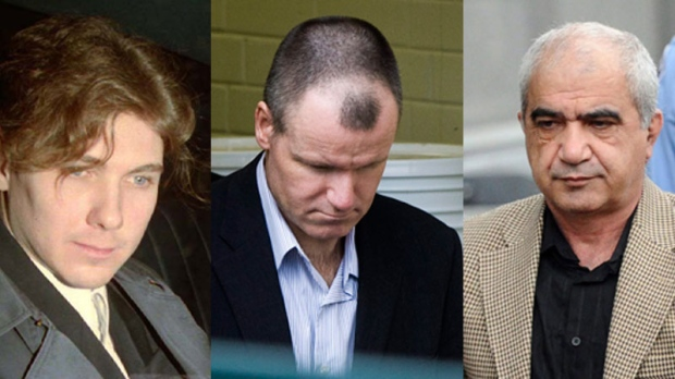 From left to right: Schoolgirl killer Paul Bernardo, Russell Williams and Mohammad Shafia are seen in this combined image.