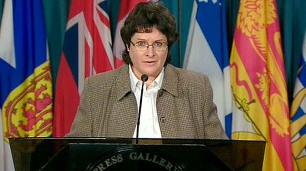 NDP MP Francoise Boivin addresses a press conference on Parliament Hill in Ottawa, Thursday, April 19, 2012.