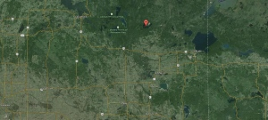 The location of Wolf Lake, in Alberta, in shown in this image taken from Google Maps. (Screengrab / Google Maps)