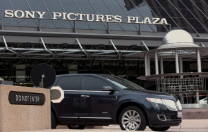 The exterior of the Sony Pictures Plaza building is seen in Culver City, Calif., on Friday, Dec. 19, 2014. (AP / Damian Dovarganes)
