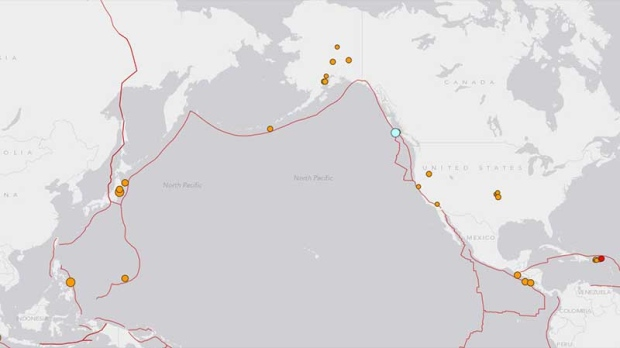 Map of earthquakes in Pacific region