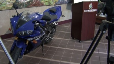 A 2006 blue Yamaha R1 motorcycle has been seized by Saanich police in connection to a YouTube video showing a bike speeding at close to 330 kilometres per hour. April 19, 2012. (CTV)