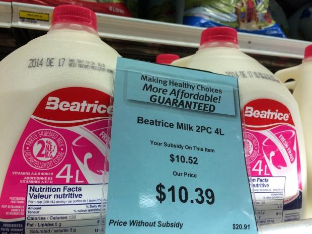 Price of Milk in Nunavut