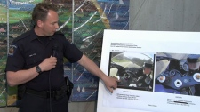 Const. Will Dodds shows similarities between a seized 2006 blue Yamaha R1 and one shown speeding at close to 330 kilometres per hour in a YouTube video. April 19, 2012. (CTV)