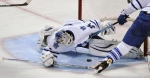 Toronto Maple Leafs goalie James Reimer makes a save during the second period of an NHL hockey game against the Chicago Blackhawks in Chicago, Sunday, Dec. 21, 2014. (AP / Paul Beaty)
