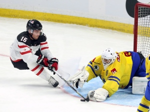 Team Canada's Max Domi (16) attempts to get control of the puck as Team Sweden goaltender Samuel Ward (1)reacts during second period exhibition hockey action in preparation for the upcoming IIHF World Junior Championships in Ottawa Sunday, December 21, 2014. (Fred Chartrand / THE CANADIAN PRESS)
