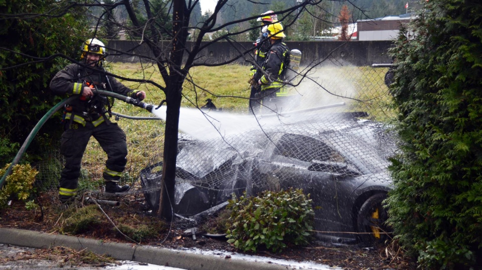 Fire crews spray water on a Lamborghini that crashed through a chain-link fence on Sunday, Dec. 21, 2014. (CTV)