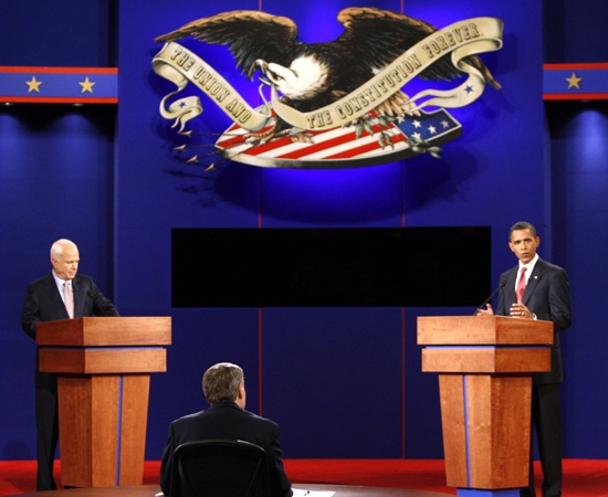 U.S. presidential candidates Barack Obama and John McCain take the stage for the debate at the University of Mississippi in Oxford, Friday, Sept. 26, 2008. (AP / Ron Edmonds)