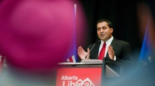 Dr. Raj Sherman makes his acceptance speech after winning the Alberta Liberal Party leadership in Edmonton, Alberta, on Saturday, September 10, 2011. (John Ulan / THE CANADIAN PRESS)