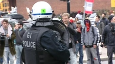 Police and students clash in Montreal, Friday, April 20, 2012.