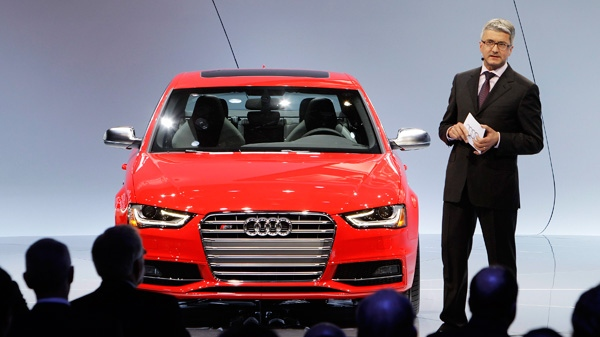 Rupert Stadler, Chairman of the board of Management, Audi AG introduces the 2013 Audi S4 at the North American International Auto Show in Detroit, Monday, Jan. 9, 2012. (AP / Paul Sancya)