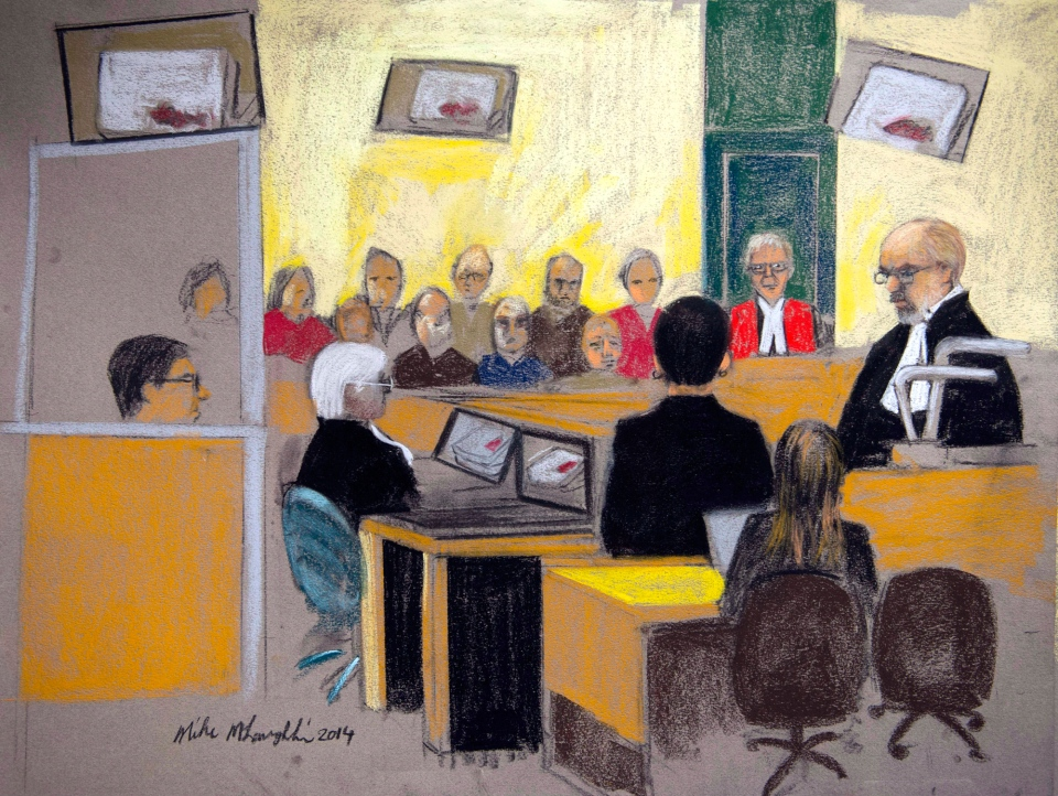 An artist's sketch of the courtroom during the murder trial of Luka Rocco Magnotta in Montreal. (Mike McLaughlin / THE CANADIAN PRESS)