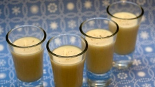 Glasses of Eggnog Coupe de Milieu are seen in this Monday, Oct. 29, 2007 photo. This eggnog will add a new taste to your cocktail lineup this holiday season. (AP /Larry Crowe)