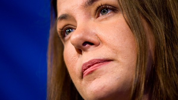 Wildrose Leader Danielle Smith makes a campaign stop in Calgary, Alta., Friday, April 20, 2012. (Jeff McIntosh / THE CANADIAN PRESS)
