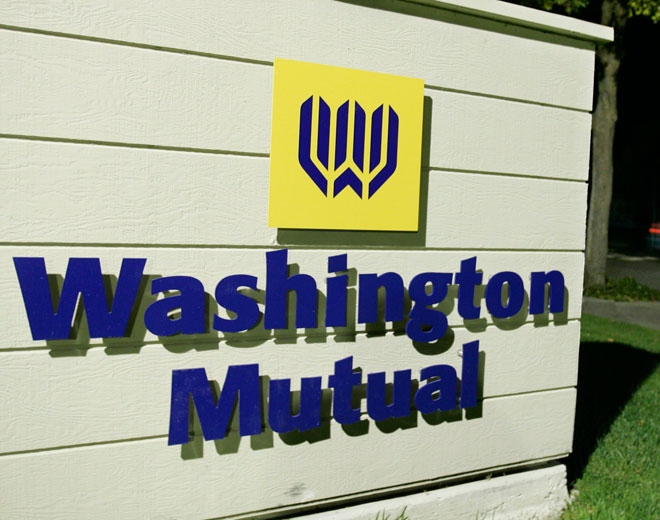 A sign advertising Washington Mutual bank is seen in Palo Alto, Calif., Thursday night, Sept. 25, 2008.  (AP / Paul Sakuma)