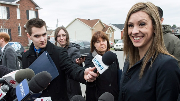 NDP MP Ruth Ellen Brosseau meets with members of the press in her riding Thursday, April 19, 2012 in Trois-Rivieres, Que. (Paul Chiasson / THE CANADIAN PRESS)