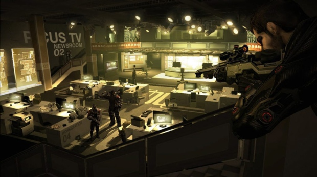 In this video game image released by Square Enix, Spy Adam Jensen looks for clues in a media company�s headquarters in a scene from, �Deus Ex: Human Revolution.�