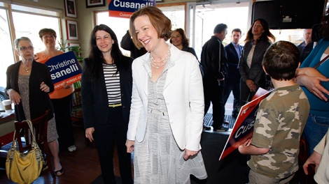 Alberta Conservative Leader Alison Redford makes a campaign stop in Calgary, Alta., Sunday, April 22, 2012. (Jeff McIntosh / THE CANADIAN PRESS)