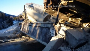 A CP freight train derailed west of Banff, Alberta, Dec. 26, 2014. (Transportation Safety Board)