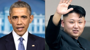 This photo combination shows U.S. President Barack Obama, left, and North Korean leader Kim Jong Un.  (AP)