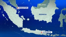 Map: AirAsia missing plane Surabaya-Singapore