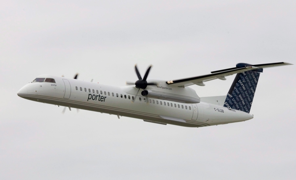 In this file photo, a Porter Airlines Bombardier Q400 airplane in Toronto, on Tuesday, Aug. 29, 2006.  (The Canadian Press / Adrian Wyld)