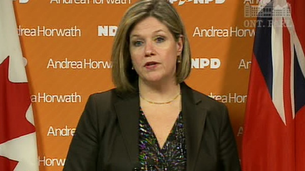 Ontario NDP Leader Andrea Horwath speaks at a press conference about the NDP surtax on Monday, April 23, 2012.