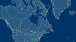 The flight path of AC850 is shown early Monday morning, Dec. 29, 2014. (Flightaware.com)