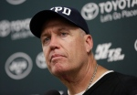 New York Jets then-head coach Rex Ryan listens to a questions during a news conference following an NFL football game against the Miami Dolphins, Sunday, Dec. 28, 2014, in Miami Gardens, Fla. The Jets won 37-24. (AP Photo/Lynne Sladky)