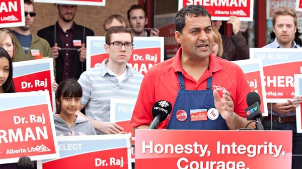 Alberta Liberal Leader Raj Sherman speaks during a press conference held at a barbecue for supporters in Edmonton, Sunday, April 22, 2012. (Jason Franson / THE CANADIAN PRESS)