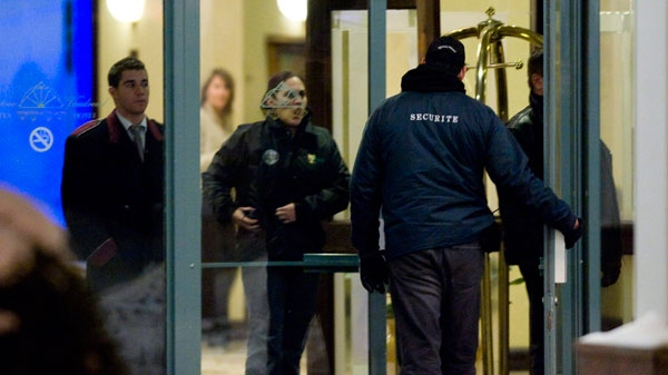 Security personnel guard the entrance to the Chateau Vaudreuil Hotel, west of Montreal, where Belhassen Trabelsi was believed to be staying, Thursday, January 27, 2011. (Graham Hughes / THE CANADIAN PRESS)