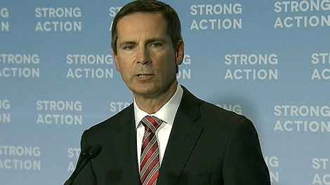 Ontario Premier Dalton McGuinty speaks at a press conference about the NDP surtax on Monday, April 23, 2012.