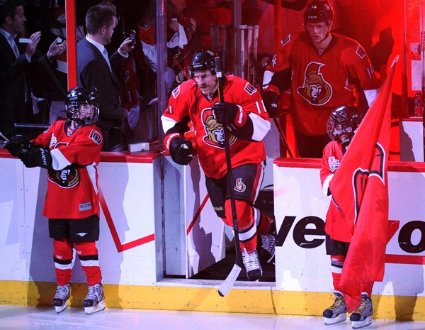 Ottawa Senators' right wing Daniel Alfredsson (11) steps on the ice against the New York Rangers during the first period of game six of first round NHL Stanley Cup playoff hockey action at the Scotiabank Place in Ottawa on Monday, April 23, 2012. THE CANADIAN PRESS/Sean Kilpatrick