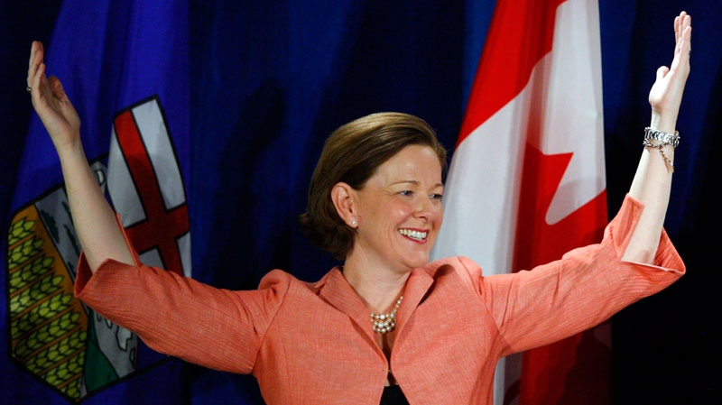 Alberta PC party leader Alison Redford celebrates her win in the provincial election in Calgary, Alta., Monday, April 23, 2012. (Jeff McIntosh / THE CANADIAN PRESS)