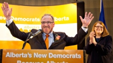 Alberta NDP Leader Brian Mason celebrates the winning his seat in the provincial election with his wife Karin Mason in Edmonton, Alta., Monday, April 23, 2012. (Jason Franson / THE CANADIAN PRESS)