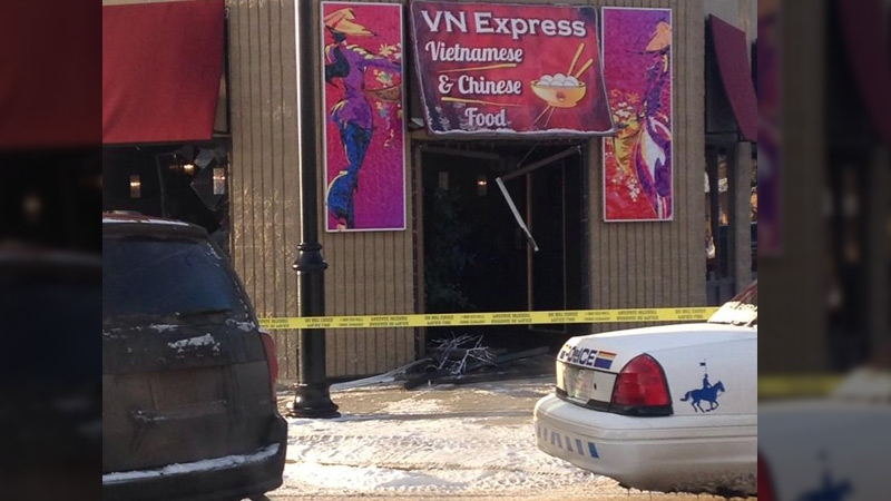 The door, and several windows of the VN Express Restaurant in Fort Saskatchewan were smashed.