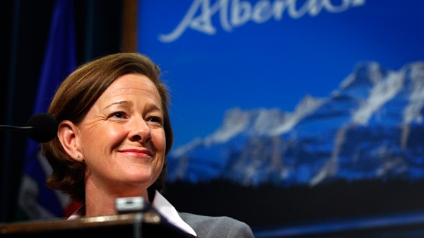 Alberta Premier and PC Party Leader Alison Redford speaks to the media following her majority win in the provincial election in Calgary, Alta., Tuesday, April 24, 2012. (Jeff McIntosh / THE CANADIAN PRESS)