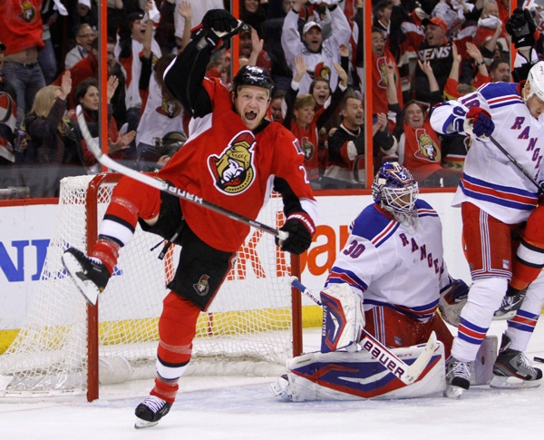 Ottawa Senators Chris Neil (25) celebrates Ottawa's first goal against the New York Rangers during the first period of game six of first round NHL Stanley Cup playoff hockey action at the Scotiabank Place in Ottawa on Monday, April 23, 2012. THE CANADIAN PRESS/Fred Chartrand