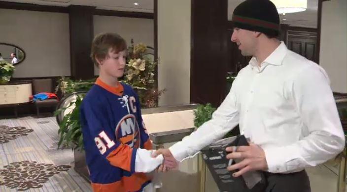 Jake Lotocki meets hockey hero