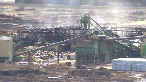 The ruins of the Lakeland Sawmill in Prince George are shown a day after the structure was destroyed in an explosion. April 24, 2012. (CTV)