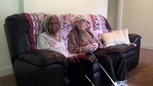 Edith Hill, 96, and Eddie Harrison, 95, are seen in their home in Annandale, Va., Aug. 5, 2014. (AP / Matthew Barakat, File)