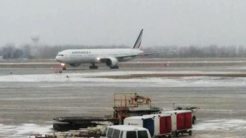 This photo of the aircraft on the ground at Trudeau Airport in Montreal was Tweeted by @suGarbOk Thursday afternoon.