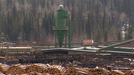 What's left of the Babine Forest Products mill in Burns Lake stands idle three months after a massive explosion. April 25, 2012. (CTV)