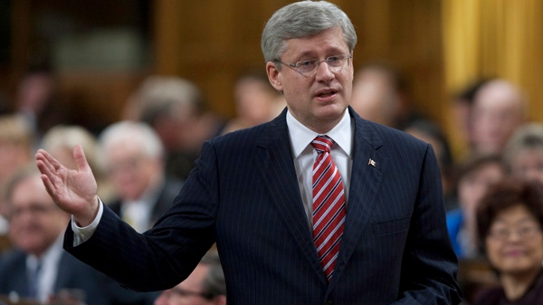 Prime Minister Stephen Harper responds to a question during Question Period in the House of Commons in Ottawa, Wednesday April 25, 2012. (Adrian Wyld / THE CANADIAN PRESS)