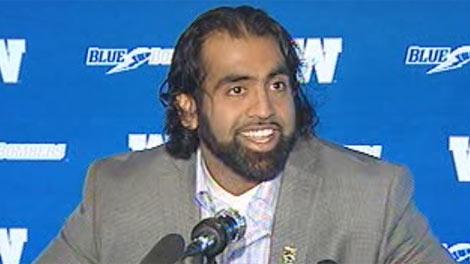 Winnipeg Blue Bomber Obby Khan announces his retirement on April 25, 2012.