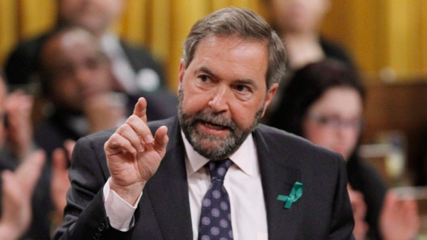 NDP Leader Tom Mulcair stands in the House of Commons during Question Period in Ottawa, Monday April 23, 2012. (Fred Chartrand / THE CANADIAN PRESS)