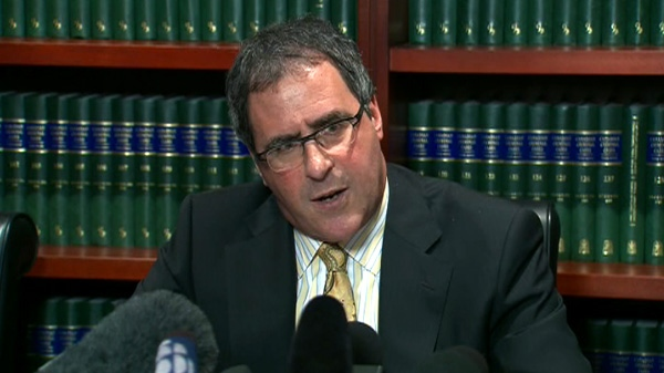 Lawyer Tim Danson speaks about Nik Zoricic's death in Toronto, Wednesday, April 25, 2012.